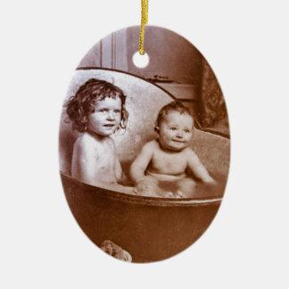Vintage Baby Bath Time Ceramic Ornament