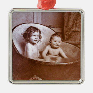 Vintage Baby Bath Time Metal Ornament