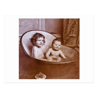 Vintage Baby Bath Time Postcard