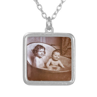 Vintage Baby Bath Time Silver Plated Necklace