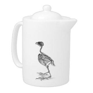 Vintage baby bird skeleton etching teapot
