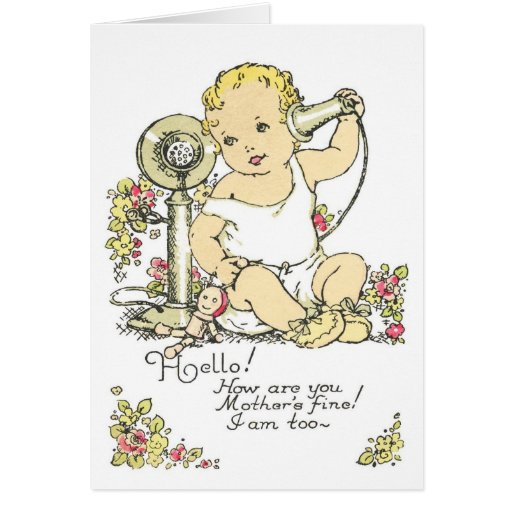 Vintage Baby Birth Announcement Card