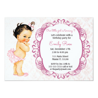 Vintage Baby Girl St Birthdays Invitations Announcements Zazzle - Vintage girl birthday invitation