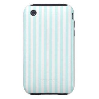 Vintage Baby Blue Pastel Colors Stripes Pattern Tough iPhone 3 Cover