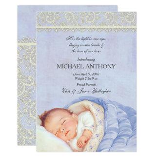 Vintage Baby Boy Announcement Blue & Ivory Lace