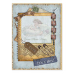 Vintage Baby Boy Arrival Announcement Photo Frame Post Card