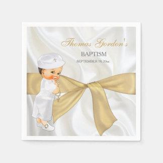 Vintage Baby Boy Baptism Christening Gold Bow Paper Napkin