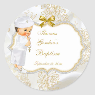 Vintage Baby Boy Baptism Gold Cross Classic Round Sticker