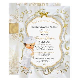 Vintage Baby Boy Baptism Gold Cross Glitter Invitation