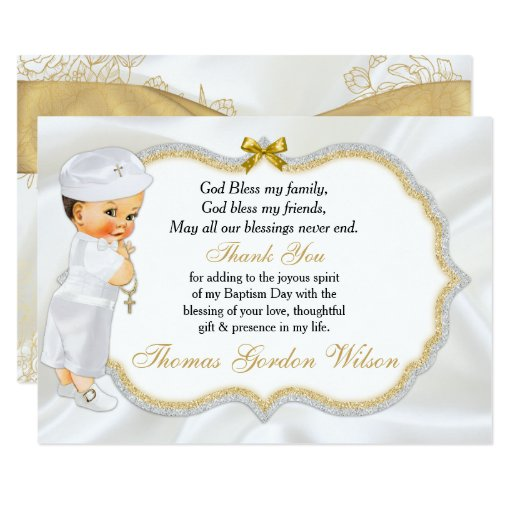 Baby Boy Gift Gold : Vintage baby boy baptism gold cross thank you card zazzle