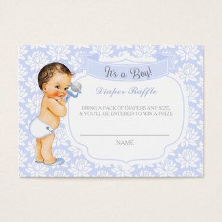 Vintage Baby Boy blue Gray Diaper Raffle Ticket