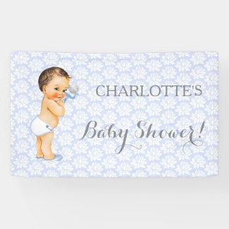 Vintage Baby Boy Blue White & Gray Banner