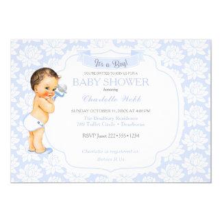 Vintage Baby Boy Blue White & Gray Card