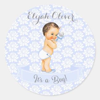 Vintage Baby Boy Blue White & Gray Classic Round Sticker