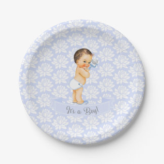 Vintage Baby Boy Blue White & Gray Paper Plate