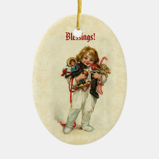 Vintage Baby Boy in Pajamas with ChristmsToys Double-Sided Oval Ceramic Christmas Ornament