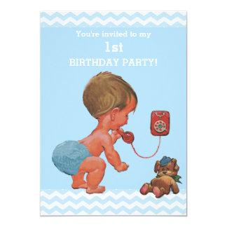 Vintage Baby Boy on Phone Chevrons 1st Birthday Card