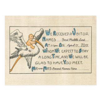 Vintage Baby Boy & Stork Birth Announcement - Blue Postcard