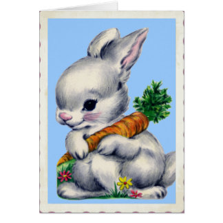 Vintage Baby Bunny Valentine Greeting Card