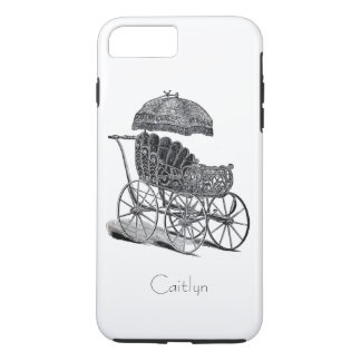 Vintage Baby Carriage and Umbrella Optional Name iPhone 7 Plus Case