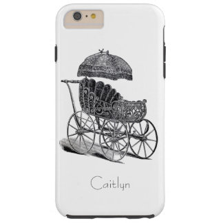 Vintage Baby Carriage and Umbrella Optional Name Tough iPhone 6 Plus Case