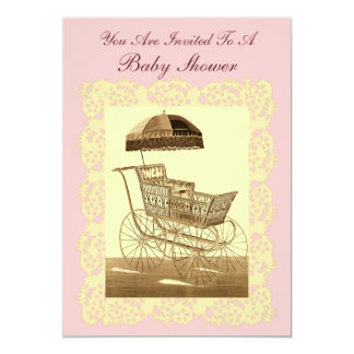 Vintage Baby Carriage ~ Baby Shower Card