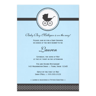 """Vintage Baby Carriage Baby Shower 5"""" X 7"""" Invitation Card"""