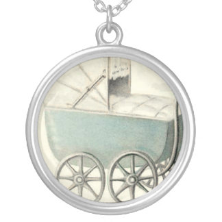 Vintage Baby Carriage Sterling Silver Necklace