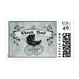 Vintage Baby Carriage Thank You Stamp II