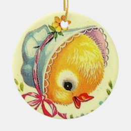 Vintage Baby Chick and Bunny Easter Ornament