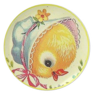 Vintage Baby Chick Melamine Dinner - Party Plate
