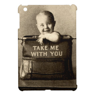 Vintage Baby Child in Luggage Suitcase Traveling Case For The iPad Mini