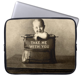Vintage Baby Child in Luggage Suitcase Traveling Laptop Computer Sleeve