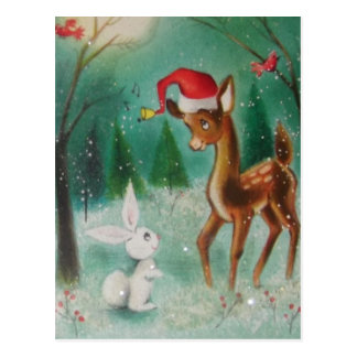 Vintage Baby Christmas Dear and Bunny Postcard