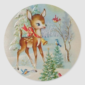 Vintage Baby Christmas Deer Classic Round Sticker