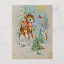 Vintage Baby Christmas Deer Holiday Postcard
