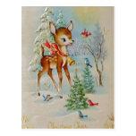 Vintage Baby Christmas Deer Postcards