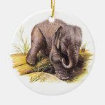 Vintage Baby Elephant Christmas Ornament