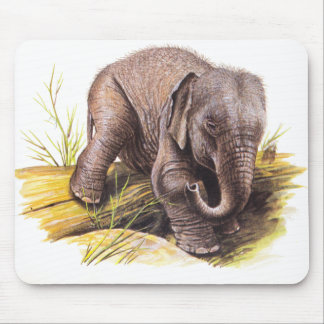 Vintage Baby Elephant Mouse Pads