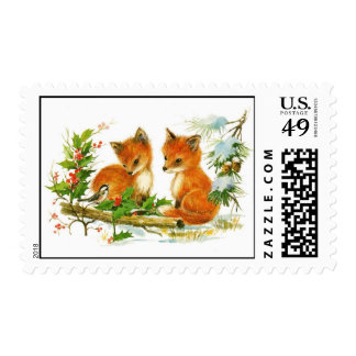 Vintage baby foxes postage
