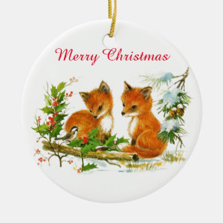 Vintage Baby Foxes Snow Holly Berries Christmas Ceramic Ornament