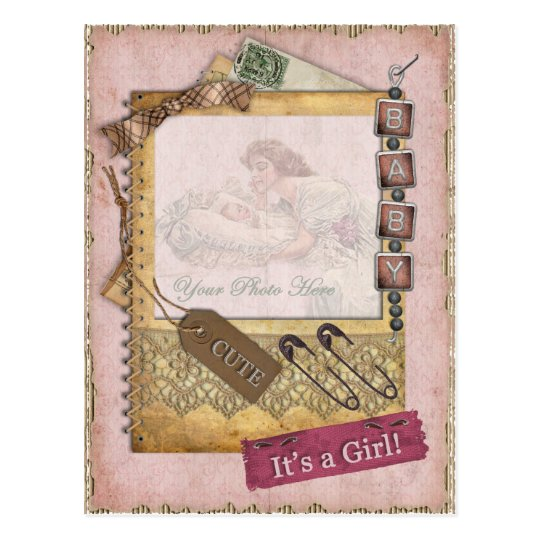 Vintage Baby Girl Arrival Announcement Photo Postcard