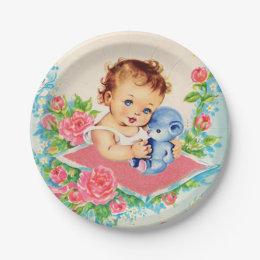 Vintage Baby Girl baby shower Cake Paper Plates  sc 1 st  Zazzle & Vintage Cakes Plates | Zazzle
