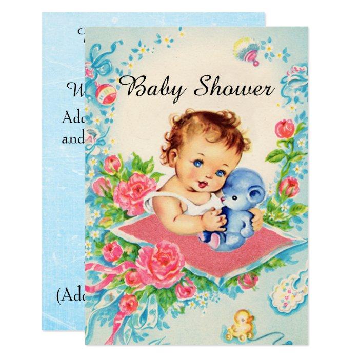 Vintage Baby Shower Invitations Girl: Vintage Baby Girl Baby Shower Invitations