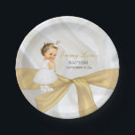"Vintage Baby Girl Baptism Christening Gold White Paper Plate<br><div class=""desc"">Beautiful vintage baby in christening dress wearing gold cross necklace and earrings on a white satin background with gold ribbon.</div>"