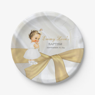 Vintage Baby Girl Baptism Christening Gold White Paper Plate  sc 1 st  Zazzle & Gold And White Plates | Zazzle