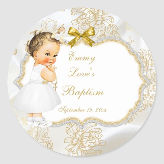 vintage baby girl baptism gold cross classic round sticker zazzle com
