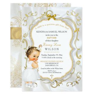 Vintage Baby Girl Baptism Gold Cross Glitter Card