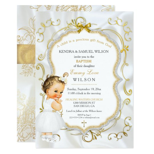 vintage baby girl baptism gold cross glitter invitation zazzle com