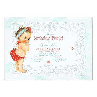 Vintage Baby Girl Bathing Suit Lace Monogram Back Card